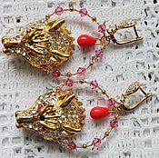 Украшения handmade. Livemaster - original item Earrings with beads wolf head rhinestone Wolf pair. Handmade.