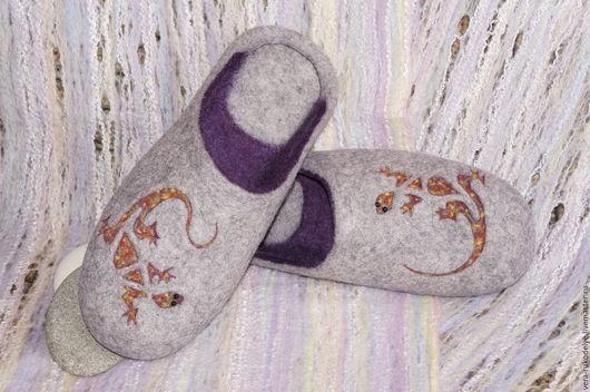 """Обувь ручной работы. Ярмарка Мастеров - ручная работа. Купить Тапочки мужские валяные """"Танец саламандры"""". Handmade. Серый"""