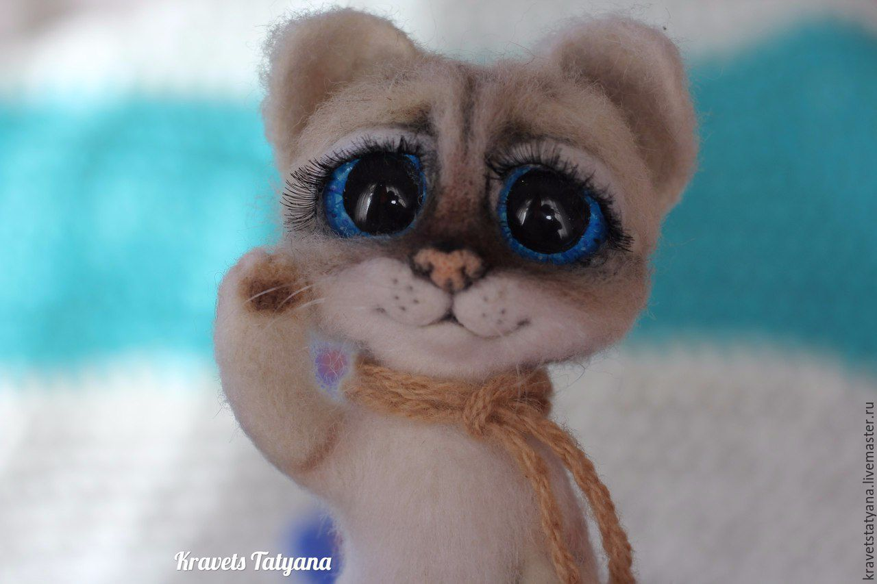 Copyright felt toy kitten Muffin:) Lunar the cat:), Felted Toy, Kuragino,  Фото №1