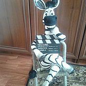Куклы и игрушки ручной работы. Ярмарка Мастеров - ручная работа валяная игрушка зебра режиссер. Handmade.
