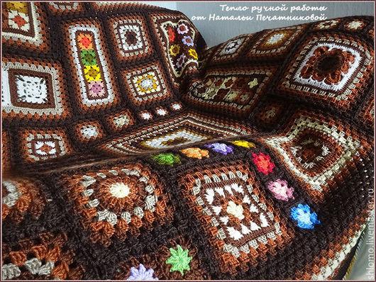 """Текстиль, ковры ручной работы. Ярмарка Мастеров - ручная работа. Купить Вязаный плед """"Шоколадное ассорти"""". Handmade. Плед вязаный"""
