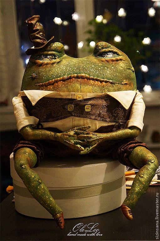 Игрушки животные, ручной работы. Ярмарка Мастеров - ручная работа. Купить АБАЖ  ( домашний страж). Handmade. Зеленый, жаба