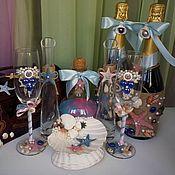 Свадебный салон ручной работы. Ярмарка Мастеров - ручная работа Свадебный комплект в Морской тематике. Handmade.