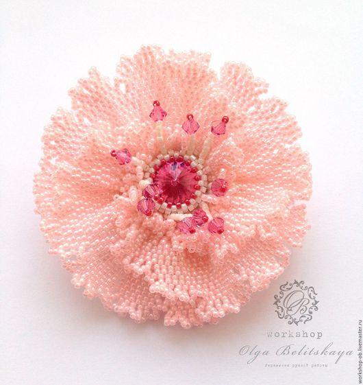 """Броши ручной работы. Ярмарка Мастеров - ручная работа. Купить Брошь """"Нежный цветок"""" (брошь из бисера нежный цветок). Handmade."""