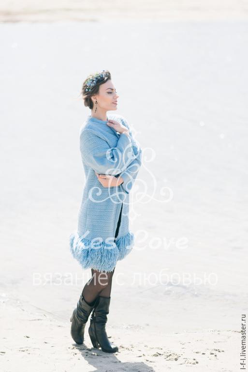 Кофты и свитера ручной работы. Ярмарка Мастеров - ручная работа. Купить Вязаный кардиган «Blue Sun». Handmade. Голубой
