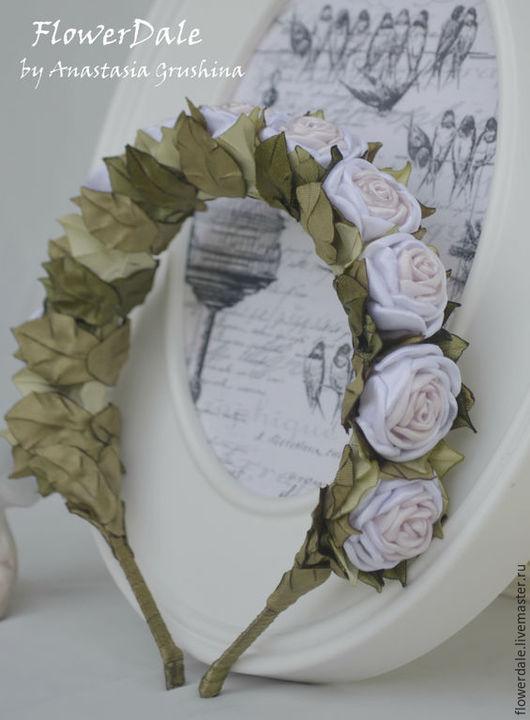 Ободок `Свадебные розы`