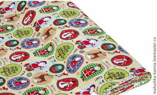 """Шитье ручной работы. Ярмарка Мастеров - ручная работа. Купить Ткань Германия """"Медальоны белый""""Рождество Новый год для тильды пэчворк. Handmade."""