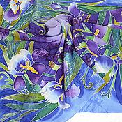 """Аксессуары ручной работы. Ярмарка Мастеров - ручная работа Шелковый платок батик """"Дикие ирисы"""" крепдешин. Handmade."""