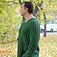 Для мужчин, ручной работы. Заказать Мужской пуловер из резинки с косами. Knitted Sea. Ярмарка Мастеров. Мужской пуловер