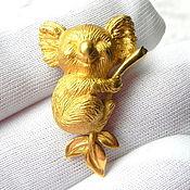 Винтаж ручной работы. Ярмарка Мастеров - ручная работа Брошь Коала,Trifari,США,60ые,животные,животное,мишка,медведь,маленькая. Handmade.
