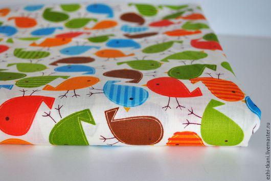 Шитье ручной работы. Ярмарка Мастеров - ручная работа. Купить Ткань детская хлопок Птички. Handmade. Ткани для пэчворка