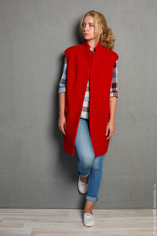 Верхняя одежда ручной работы. Ярмарка Мастеров - ручная работа. Купить Пальто без рукавов. Handmade. Ярко-красный