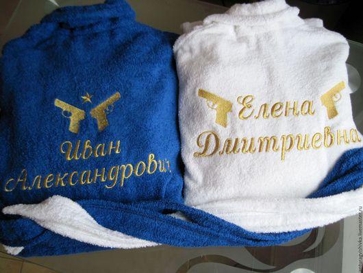 Парный подарок на свадьбу - Именной халат с вышивкой, Махровый халат, Именная вышивка, Именной подарок, Свадебный подарок