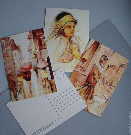 Открытки для женщин, ручной работы. Ярмарка Мастеров - ручная работа. Купить К счастливым переменам!(набор открыток). Handmade. Бежевый, дождь