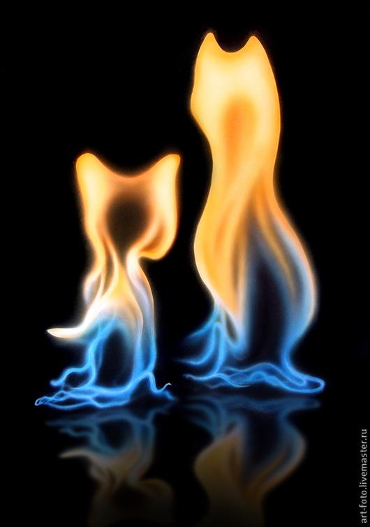 Фотокартины ручной работы. Ярмарка Мастеров - ручная работа. Купить Фотокартина - Кошечки из огня. Handmade. Волшебство, желтый, огненный, свет
