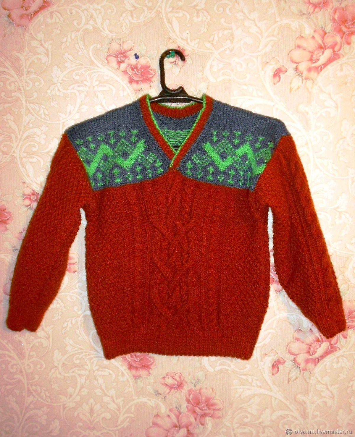 Одежда для мальчиков, ручной работы. Ярмарка Мастеров - ручная работа. Купить Как у папы. Пуловер для мальчика.Спицы. Handmade.
