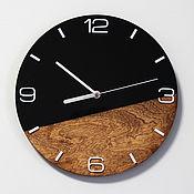 Для дома и интерьера handmade. Livemaster - original item Black round wall clock made of acrylic and wood in eco style. Handmade.