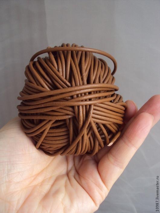 Для украшений ручной работы. Ярмарка Мастеров - ручная работа. Купить Шнур кожаный 2 мм коричневый.. Handmade. Шнур