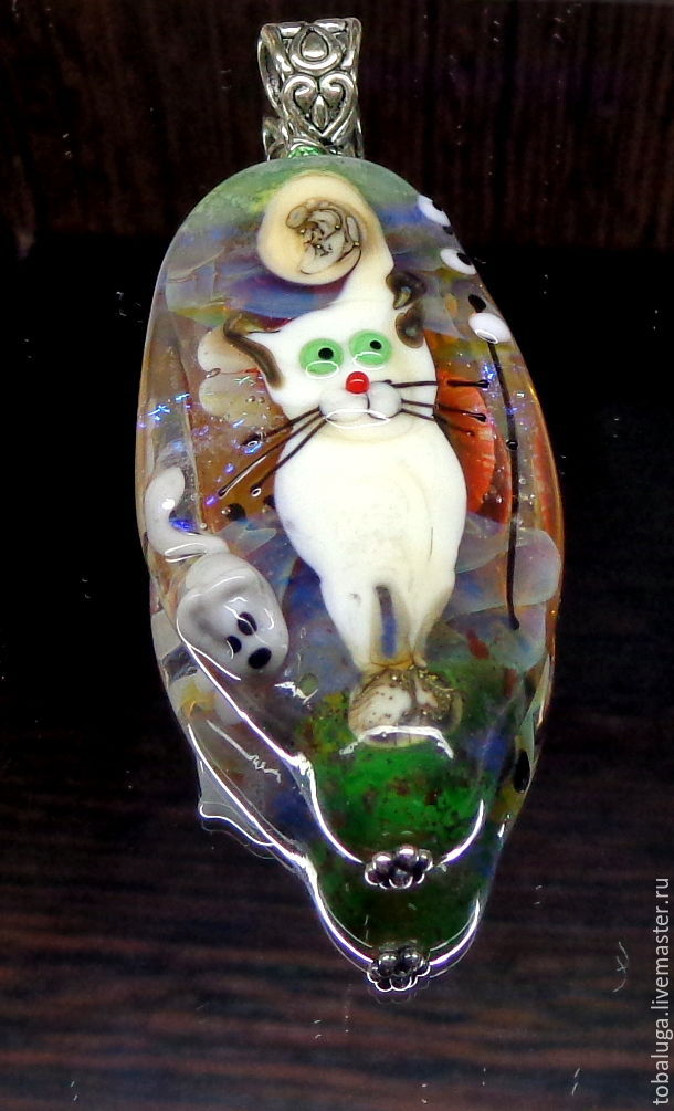 Pendant of Cat and mouse lampwork, Pendants, St. Petersburg,  Фото №1