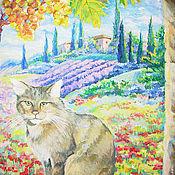Картина Кошка Под солнцем Италии Холст Акрил Размер 70х50 см