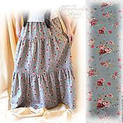 """Одежда ручной работы. Ярмарка Мастеров - ручная работа Юбка длинная,ярусная """"Винтажные розы"""" из хлопка,летняя юбка. Handmade."""