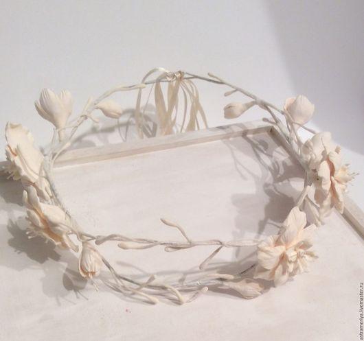Свадебные украшения ручной работы. Ярмарка Мастеров - ручная работа. Купить Свадебный венок для прически невесты Цветы цвета айвори. Handmade.