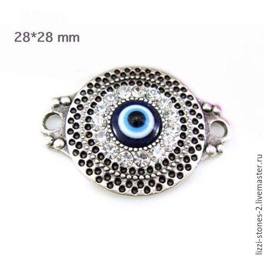 Коннектор с глазом и стразами (Турция) Евгения (Lizzi-stones-2)