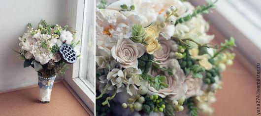Свадебные цветы ручной работы. Ярмарка Мастеров - ручная работа. Купить Белый свадебный букет невесты из полимерной глины.. Handmade.