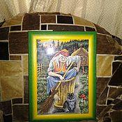 Картины и панно ручной работы. Ярмарка Мастеров - ручная работа Баба-Яга вышитая картина. Handmade.