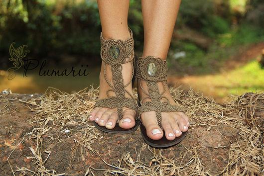 Обувь ручной работы. Ярмарка Мастеров - ручная работа. Купить Magiс shoes - обувь из макраме с лабрадоритами. Handmade. Бежевый, сандалии