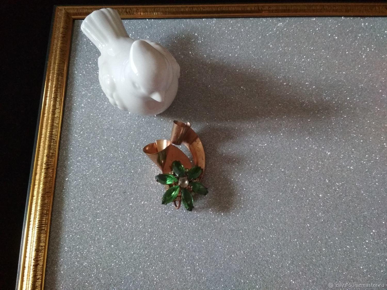 Brooch with green rhinestones, Vintage brooches, Vladimir,  Фото №1