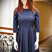 Одежда ручной работы. Ярмарка Мастеров - ручная работа Платье Classic  в полоску, темно-синего цвета. Handmade.