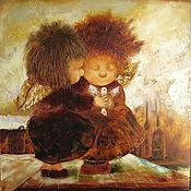 Картины и панно ручной работы. Ярмарка Мастеров - ручная работа Картина маслом. Ангелы на крыше. Handmade.