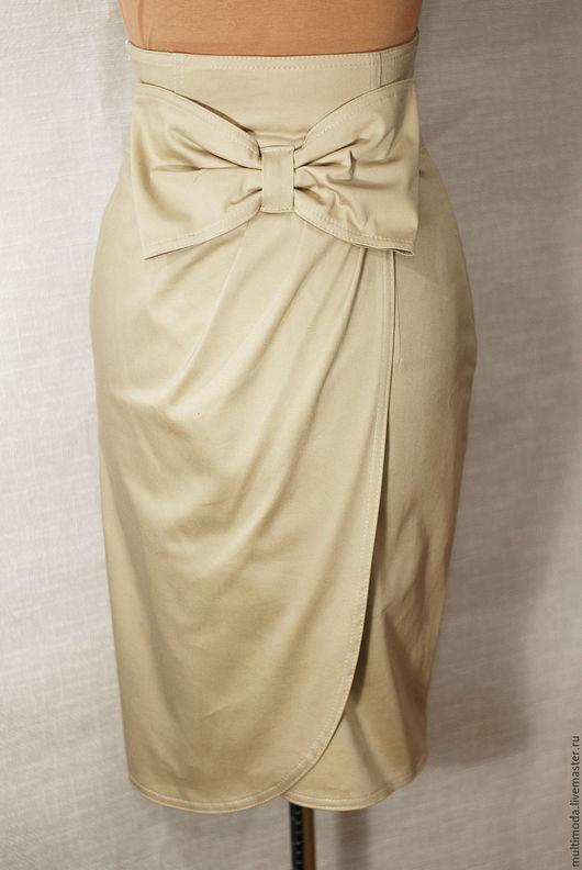 Юбки ручной работы. Ярмарка Мастеров - ручная работа. Купить Бежевая юбка с бантом. Handmade. Бежевый, офисная мода, коттон