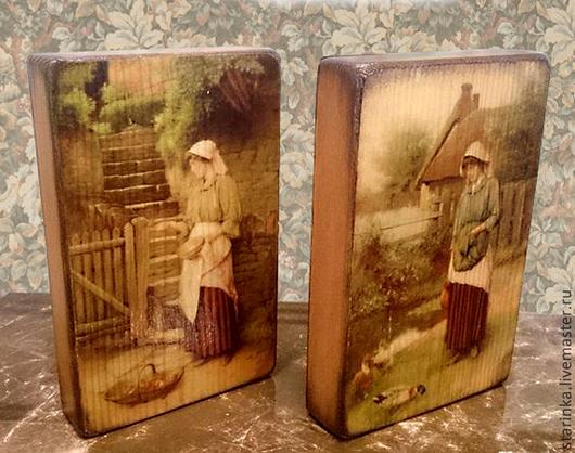 Репродукции ручной работы. Ярмарка Мастеров - ручная работа. Купить Комплект из двух панно Панно на дереве. Handmade. Разноцветный
