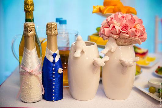 Свадебные аксессуары ручной работы. Ярмарка Мастеров - ручная работа. Купить свадебные бутылочки. Handmade. Разноцветный, бутылка декоративная