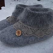 Обувь ручной работы. Ярмарка Мастеров - ручная работа Тапочки , Серые пуховые `. Handmade.