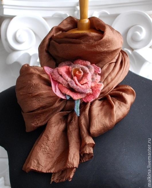 Шали, палантины ручной работы. Ярмарка Мастеров - ручная работа. Купить Шелковый шарф-палантин Шоколад. Handmade. Коричневый