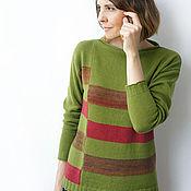 Одежда ручной работы. Ярмарка Мастеров - ручная работа Кашемировый пуловер Оливка. Handmade.