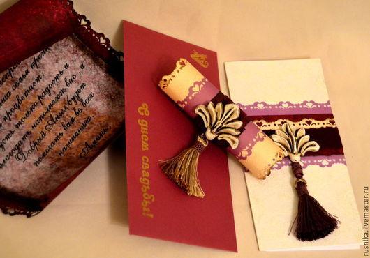 Пригласительные ручной работы. Ярмарка Мастеров - ручная работа. Купить Открытка свадебная  БЛАГОСЛОВЕНИЕ АНГЕЛА. Handmade. Бордовый цвет, rusnika