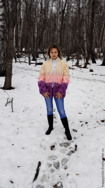 """Верхняя одежда ручной работы. Ярмарка Мастеров - ручная работа. Купить Кардиган """"Сиреневый туман"""". Handmade. В полоску"""