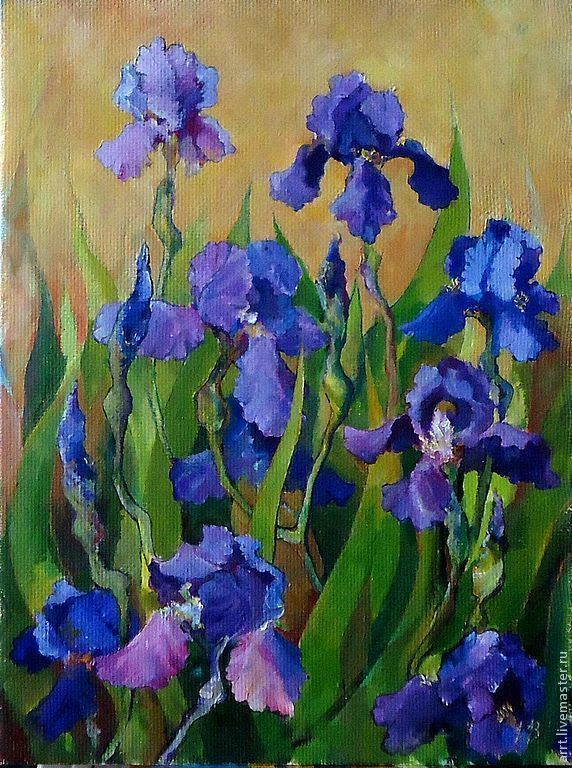 40на30 painting Irises oil on canvas Flowers, Pictures, St. Petersburg,  Фото №1