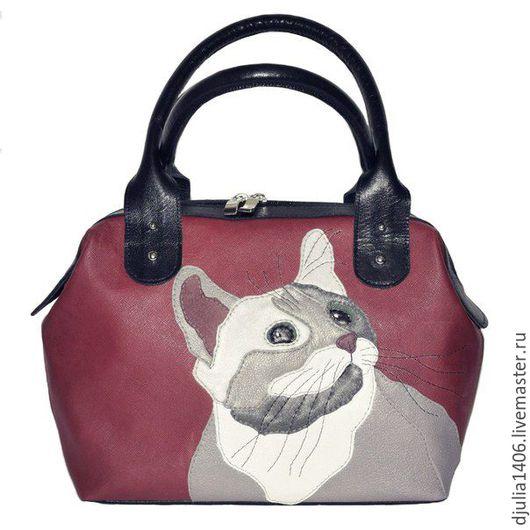 """Женские сумки ручной работы. Ярмарка Мастеров - ручная работа. Купить Кожаная сумка """"Кот"""". Handmade. Ярко-красный, кот"""