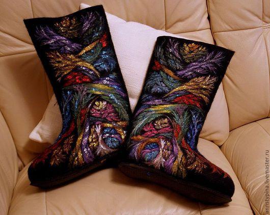 Обувь ручной работы. Ярмарка Мастеров - ручная работа. Купить Вдохновение. Handmade. Черный, валенки, Валяние, зима, дизайнерские валенки