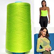 Материалы для творчества handmade. Livemaster - original item Mulberry silk yarn. Yarn flow Italy. Color green neon.. Handmade.