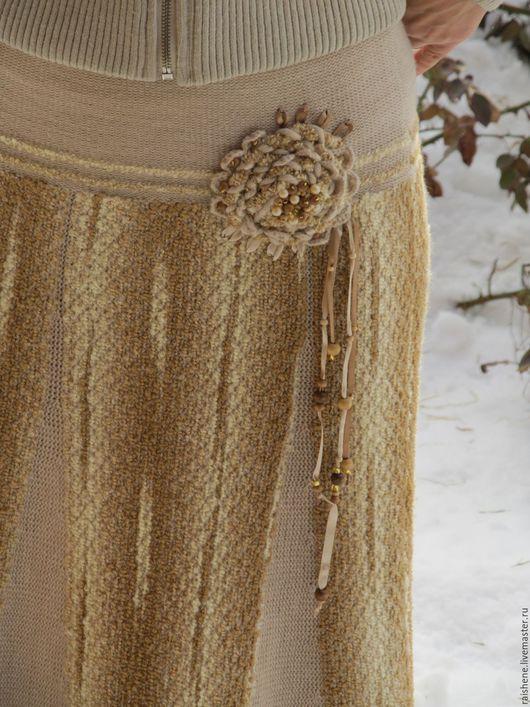 Юбки ручной работы. Ярмарка Мастеров - ручная работа. Купить длинная теплая юбка с имитацией ткачества. Handmade. Коричневый