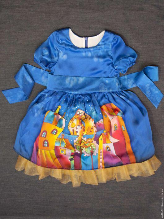 Одежда для девочек, ручной работы. Ярмарка Мастеров - ручная работа. Купить Платье для девочки из натурального шелка батик. Handmade. Синий