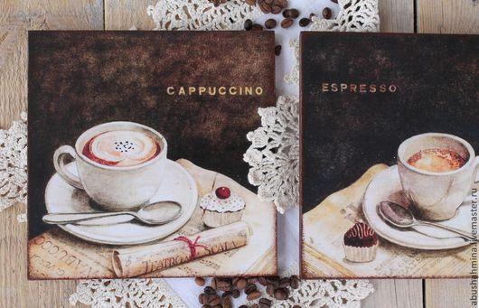 Кухня ручной работы. Ярмарка Мастеров - ручная работа. Купить кофейное коричневое панно капучино и эспрессо интерьер кухни венге. Handmade.