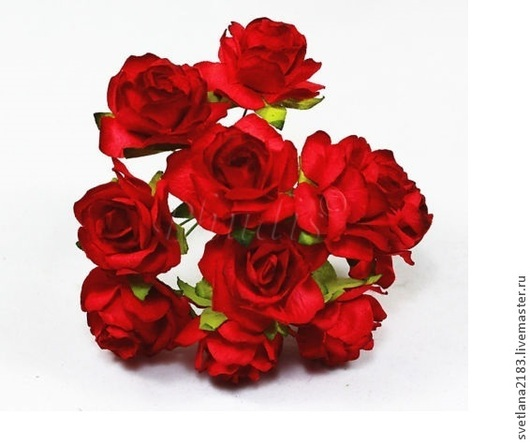 Открытки и скрапбукинг ручной работы. Ярмарка Мастеров - ручная работа. Купить Розы 3см красные 5шт. Handmade. Ярко-красный