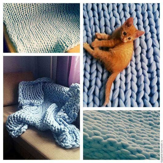 Текстиль, ковры ручной работы. Ярмарка Мастеров - ручная работа. Купить Плед из очень толстой пряжи. Шерсть 100 % меринос. Handmade.